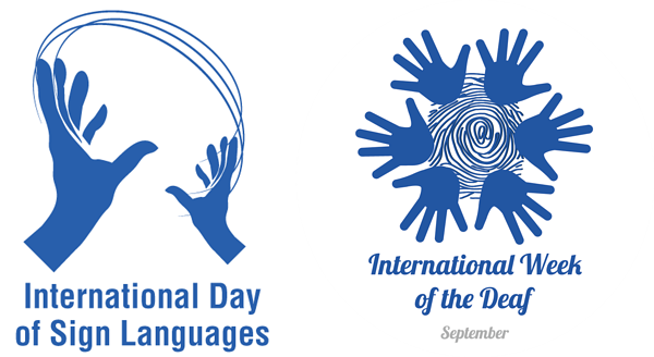International Day of Sign Languages and Week of the Deaf logo using hands