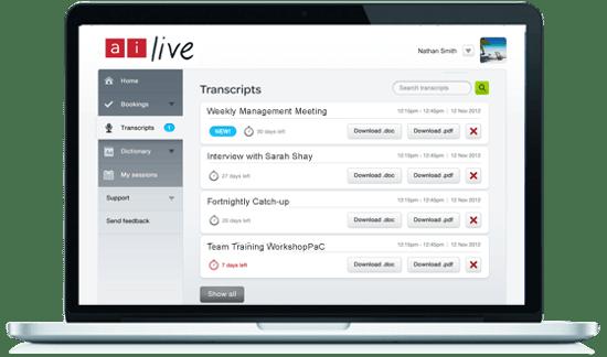 Ai-Live-transcript-portal on open laptop-silver