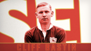 Cliff Bastin wearing a red Arsenal Football Club jersey. Text on image in red says Cliff Bastin