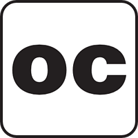 "The letters ""OC"" in black text with black border."
