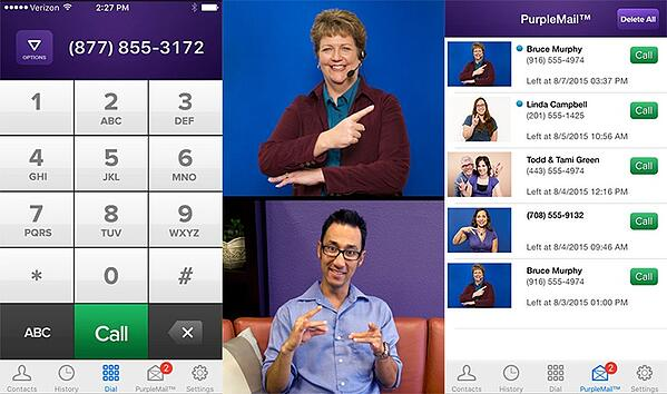Three panels left-right indicating a number pad, two communicating callers, and the P3 Mobile contact screen showing profile images.
