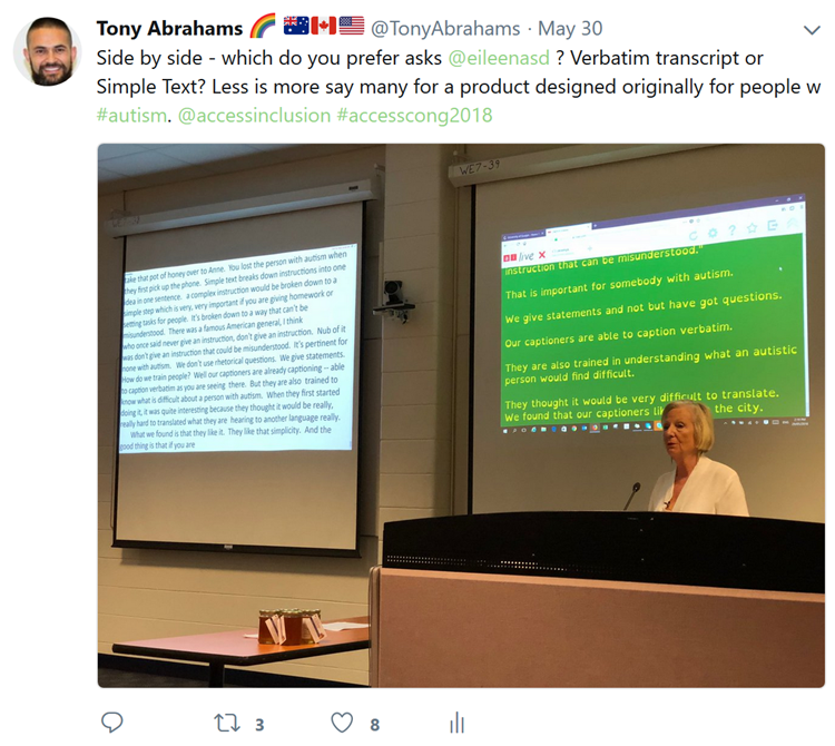 Eileen Hopkins presents Simple Text. One screen shows standard captioning on left side, another screen shows Simple Text on right.
