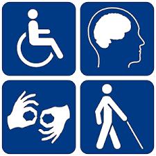 Disability Symbols White on Blue background