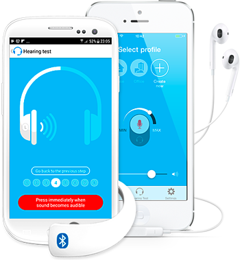 Two white phones side by side with blue app background on screen, with white headphone symbols taking up the screen
