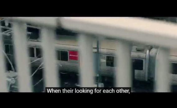 "Screenshot of video with captions. Captiong say ""When their looking for each other"""